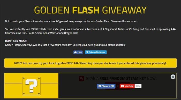 Random Golden Flash Giveaway | 10-ый день. Indiegala, Steam, Халява, Кк есть