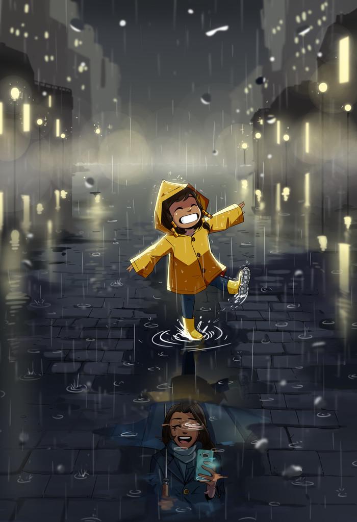 Под дождём Pharah, Арт, Overwatch, Ana Amari, Superrisu