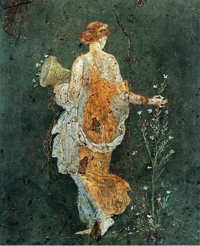 Девушка, собирающая цветы. Фреска в Помпеях
