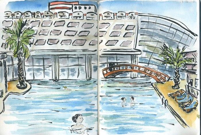 Поездка в Турцию в иллюстрациях Турция, Рисунок, Зарисовка, Скетч, Длиннопост, Акварель, Путешествия, Отпуск, Море