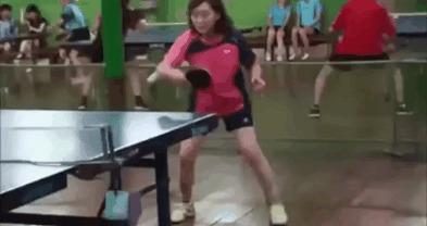 Новый стиль Настольный теннис, Азиатка, Как так?, Гифка