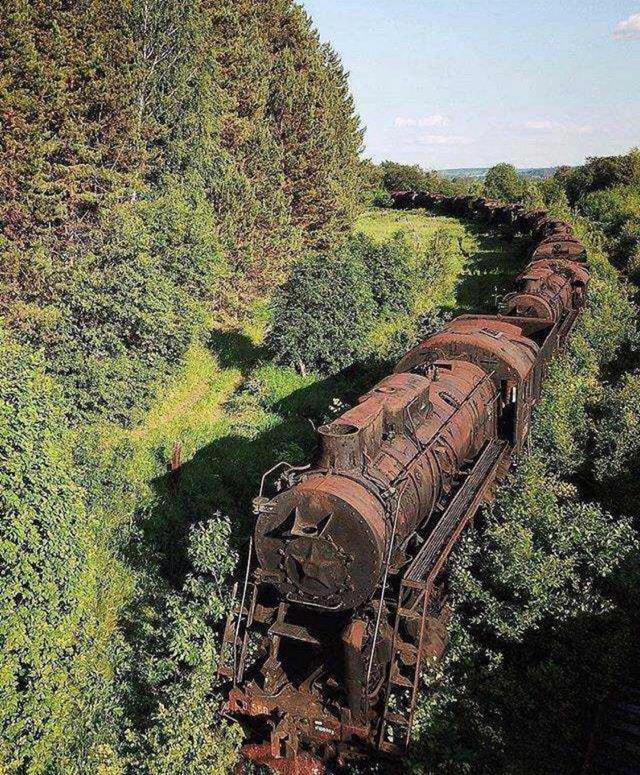 Поезд на заброшенных путях, Сибирь