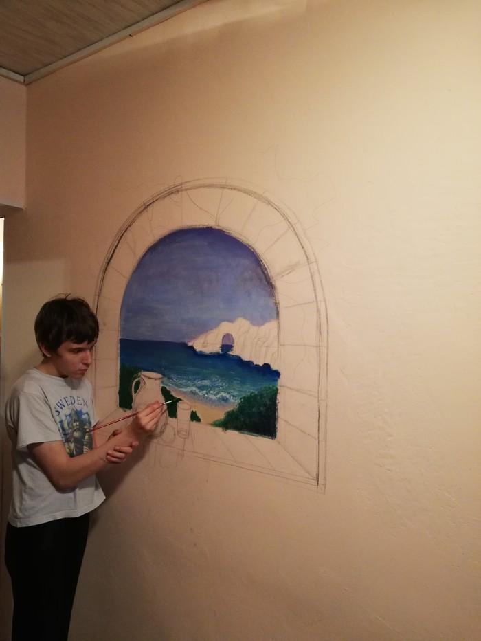 Роспись стен или ода о том, как ждали невестку Рисунок на стене, Ручная работа, Ожидание, Творчество, Длиннопост, Роспись стен, Пейзаж, Море, Скалы