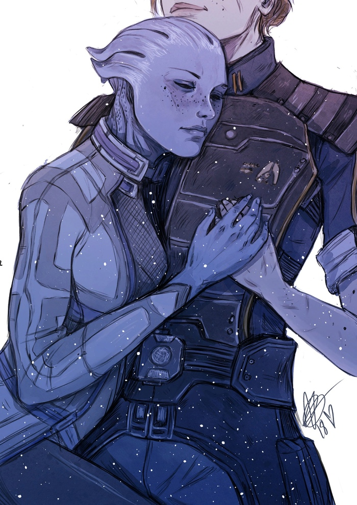 Shepard and Liara Art