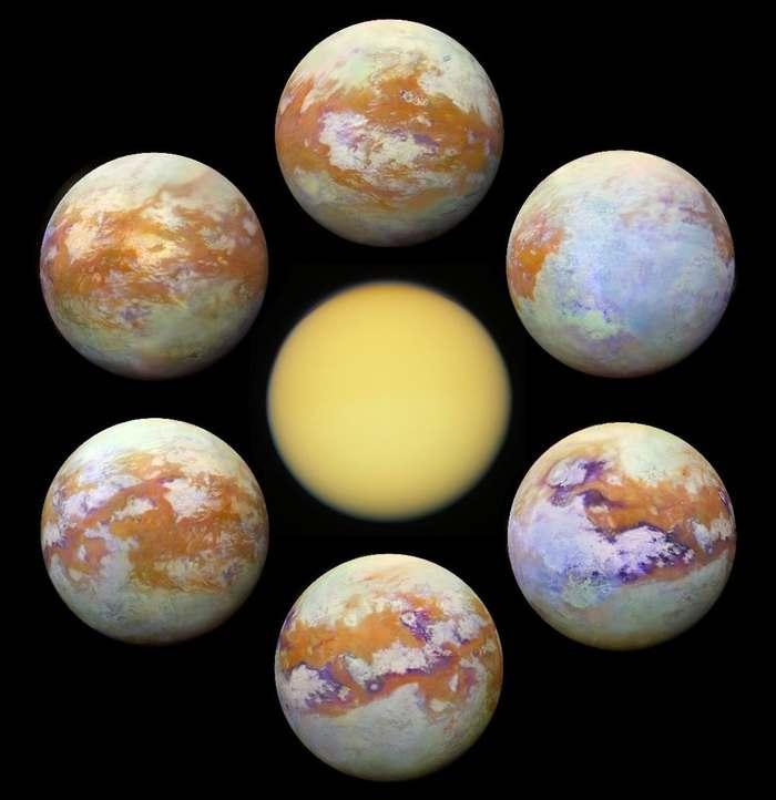 Титан без облаков Титан, Кассини, Фотография