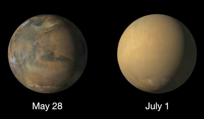 Марс до и во время сильного пылевого шторма: изображения NASA Космос, Марс, NASA, Буря