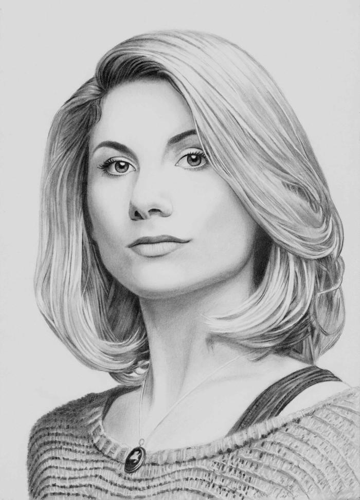 13 Доктор кто Доктор кто, Джоди уиттакер, Портрет, Рисунок, Рисунок карандашом