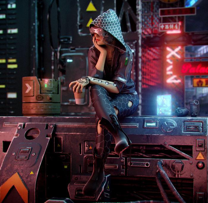 Тихая ночь. Ночь, Город, Огни, Арт, Девушки, Научная фантастика, Digital 3D