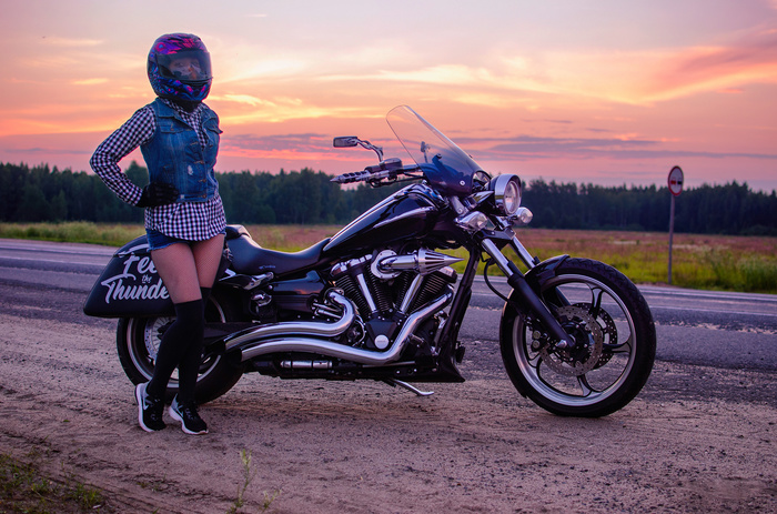Закат, дорога, мотоцикл Мото, Мотоциклы, Закат, Моя девушка, Дорога, Круизер, Yamaha, Xv1900, Длиннопост