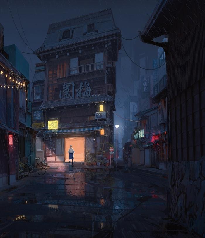 Дождливая ночь Арт, Рисунок, Улица, Дождь