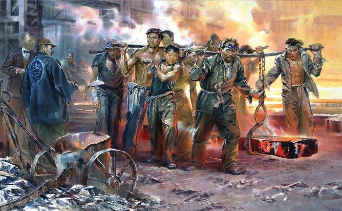 Северокорейская живопись Живопись, Северная корея, Картина, Корея, Рабочие люди, Море и моряки, Улица, Длиннопост