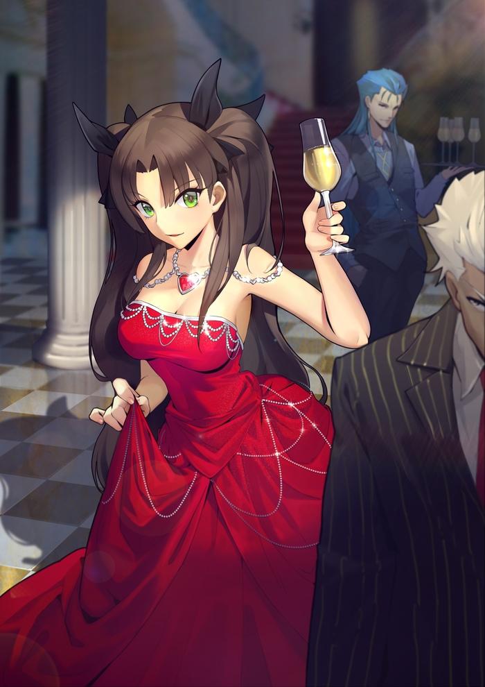 Tohsaka Rin Аниме, Anime Art, Fate, Fate-Stay night, Tohsaka Rin, Archer, Lancer