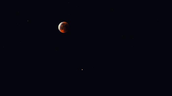 Противостояние Марса на фоне лунного затмения в 2018 Луна, Противостояние, Марс, Юпитер-37, Длиннопост, Фотография, Лунное затмение