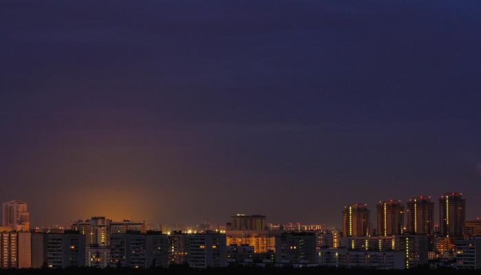Вид с крыши Москва, Фотография, Ночь, Проспект вернадского, Тропарево-Никулино