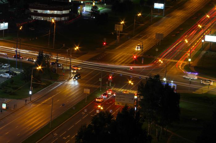 Ленинский Проспект, Москва, ночью Москва, Фотография, Ленинский проспект, Выдержка