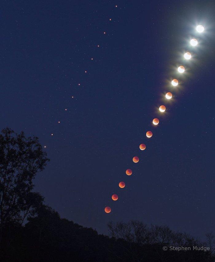 Лунный диск и Марс на небе