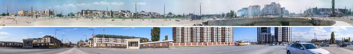 Панорама площади Минутка в Грозном, 2000 и 2013 г. Грозный, Чечня, Город, Война, История