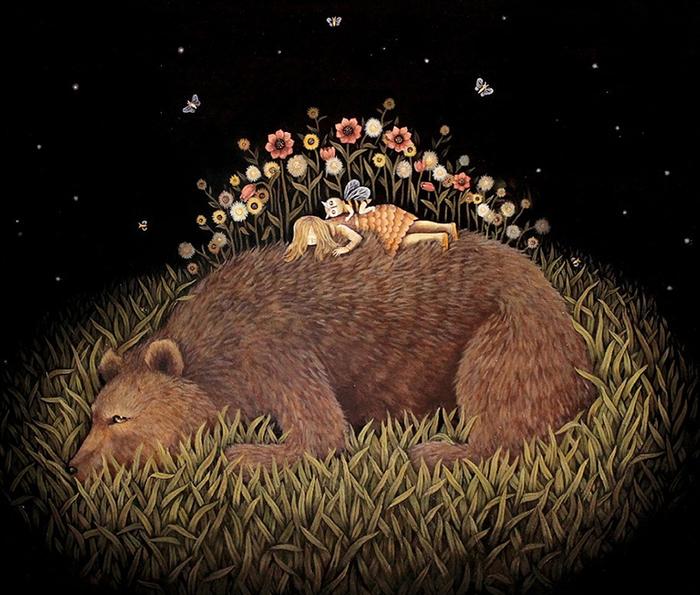 Сладких снов Медведь, Сон, Картинки, Художник, Kathleen Lolley