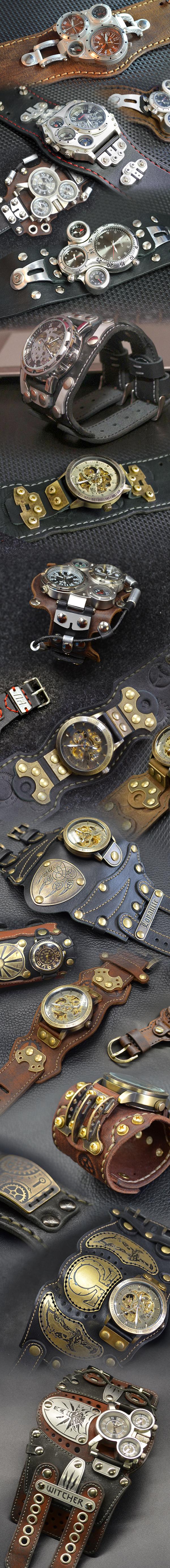 Несколько интересных часов с жЭлеСками Своими руками, Сам сделал, Часы, Браслет, Изделия из кожи, Крафт, Латунь, Алюминий, Длиннопост