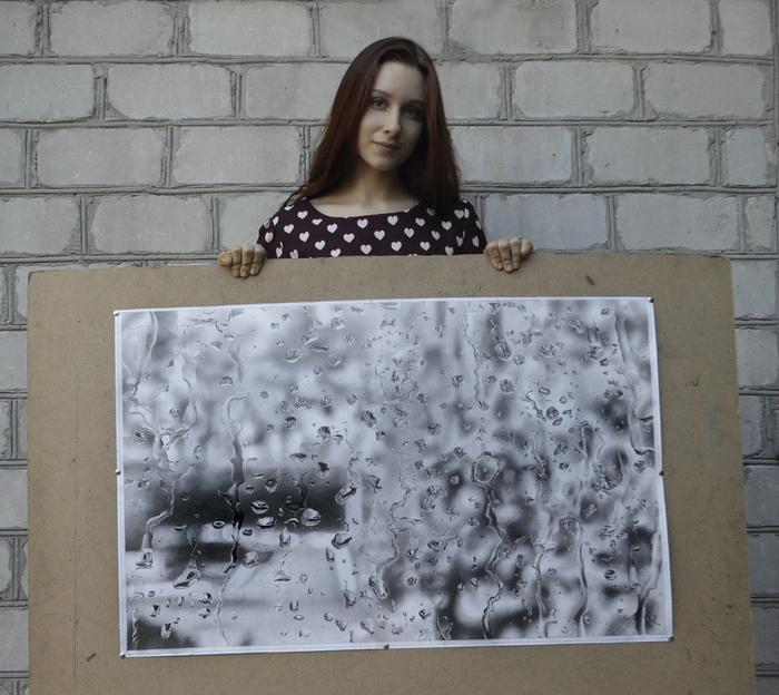 "Картина ""Летний дождь"" Вера Изотова, Реализм, Карандаш, Рисунок карандашом, Фотореализм, Капли, Дождь, Длиннопост, Рисунок"