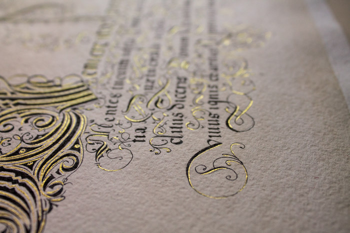 Копия манускрипта 16 века Каллиграфия, Копия, Реплика, Текст, Тушь, Перо, Золото, Длиннопост