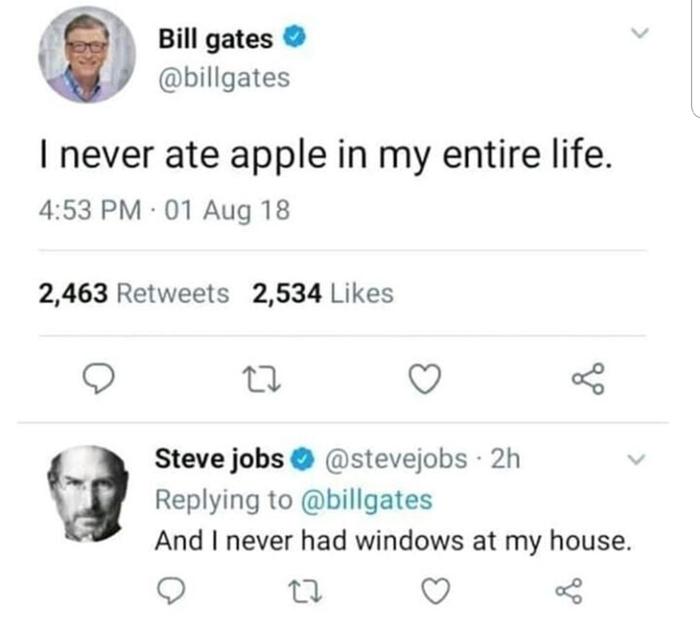 Сказ об окнах и яблоке Билл гейтс, Windows, Стив Джобс, Apple, Twitter, Игра слов, Шутка, Юмор