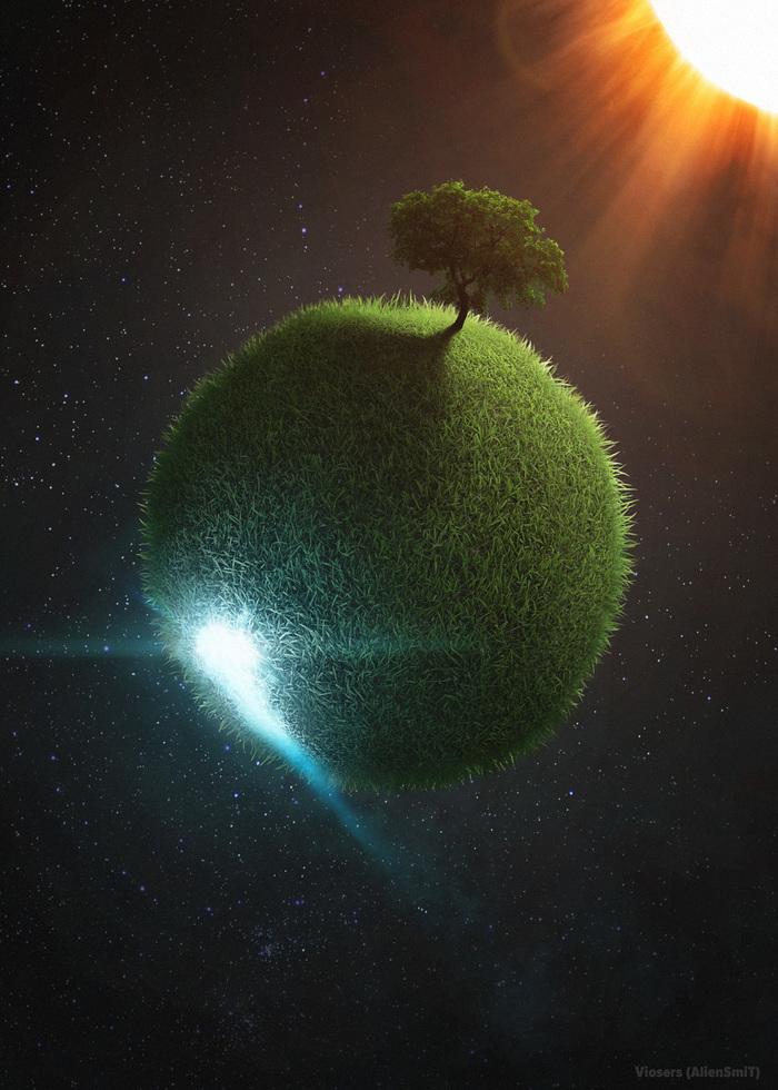 Green World (Photoshop Art) Photoshop, Коллаж, Арт, Картинки, Космос, Sci-Fi, Видео, Speed painting