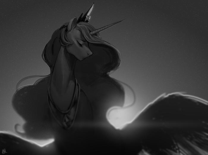 Монохромный аликорн My little pony, Princess Celestia, Ponyart
