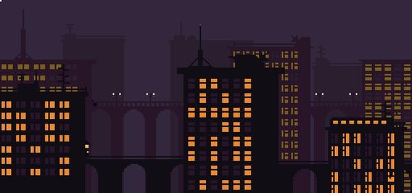 Ночной городок Pixel Art, Анимация, НЛО, Телепорт, Ночной город, Гифка