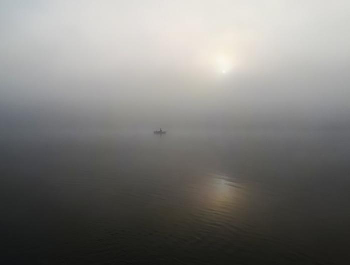 Безмятежность Фотография, Утро, Река, Рассвет, Лодка