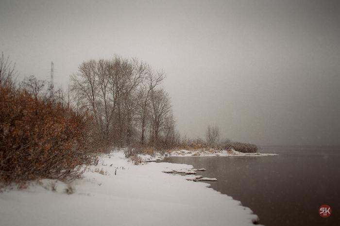 На берегу Фотография, Волга, Снег, Берег, Река, Туман, Кострома