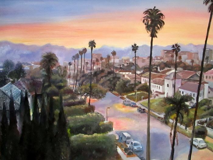 Закат в городе Масло, Картина, Закат, Пальмы, Лос-Анджелес, Улица, Город, Пейзаж