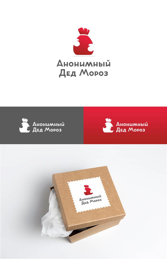 Вариант логотипа для Анонимного Деда Мороза на Пикабу Логотип, Мешок, Варежки, Дед Мороз, Скрытый смысл, Минимализм, Готовь сани летом