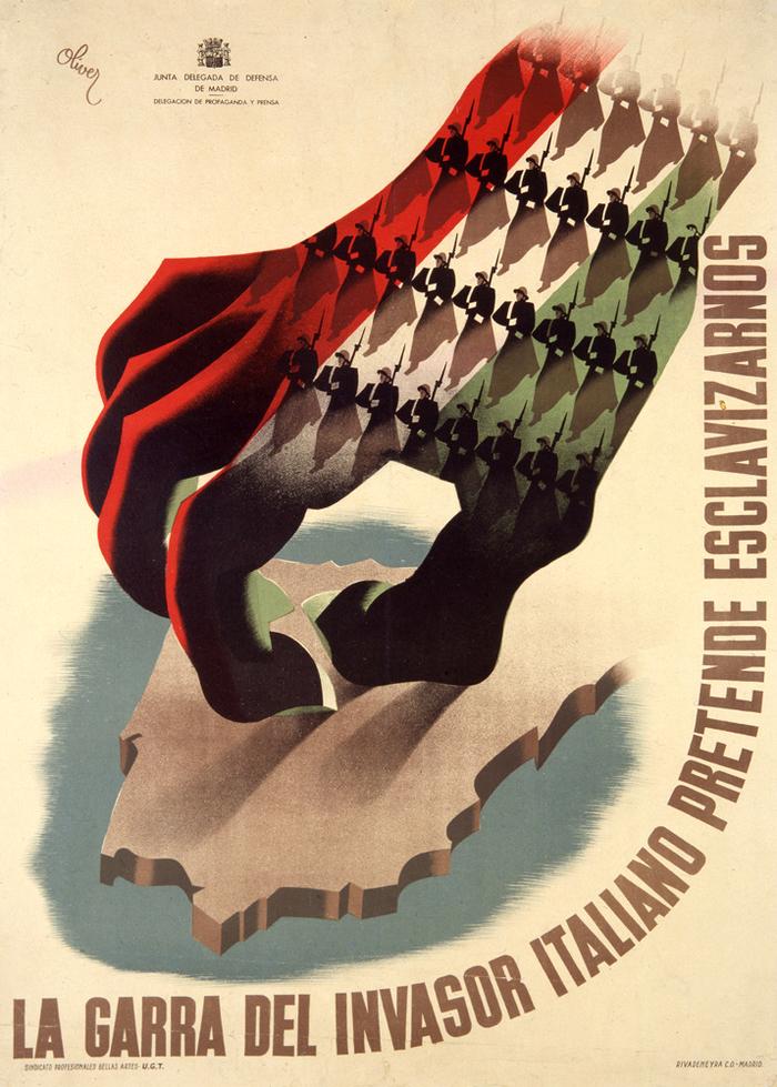 «Когтистая лапа итальянского захватчика намеревается нас поработить». Испания, 1937 Испания, Гражданская война в Испании, Испанские плакаты, Плакат, Лапа, Италия, Порабощение, Оккупация