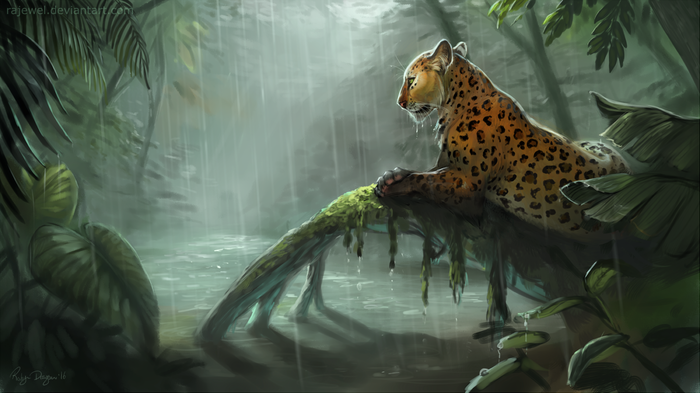 Sun Shower Арт, Джунгли, Леопард