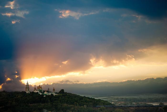 Монастырь и закат Начинающий фотограф, Pentax, K10d, Закат, Монастырь