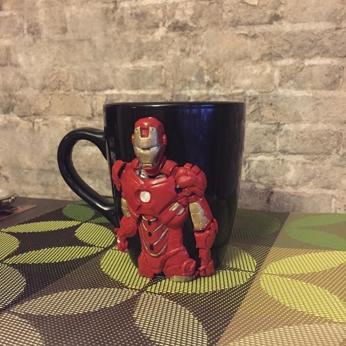Кружка с декором Железный человек, Ручная работа, Iron Man, Marvel, Длиннопост, Рукоделие без процесса, Фотография