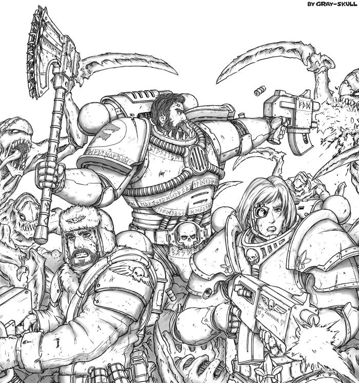 IMPERIUM STANDS!! (by Gray-Skull) Warhammer 40k, Space wolves, Имперская гвардия, Тираниды, Космодесант, Арт, Картинки, Gray-Skull