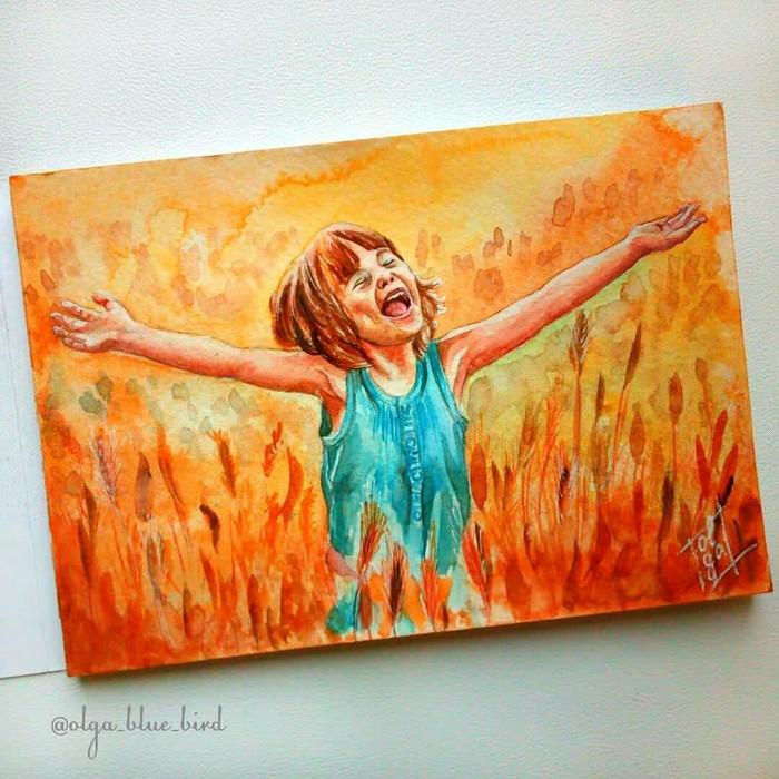 Солнечный день. Акварель, Детское счастье, Рисунок, Дети, Радость, Эмоции