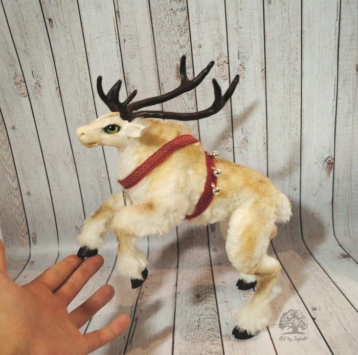 Северный олень Авторская игрушка, Полимерная глина, Олень, Рождество, Длиннопост, Рукоделие без процесса