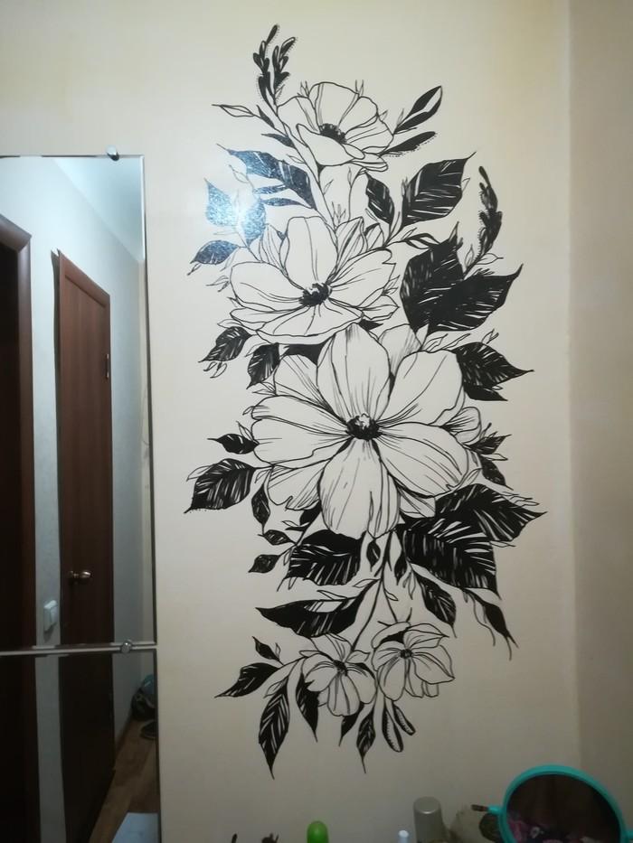 Роспись стены автомобильным маркером Рисунок, Арт, Роспись стен, Цветы, Черно-Белое, Творчество, Длиннопост
