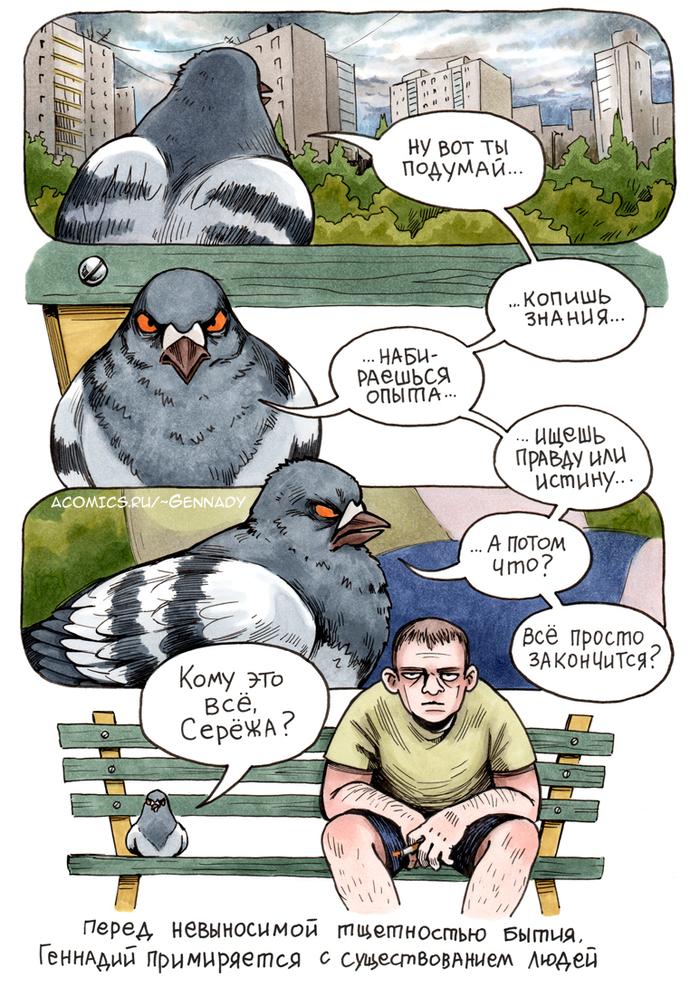 Тщетность бытия Комиксы, Голубь геннадий, Koropublic, Тщетность бытия