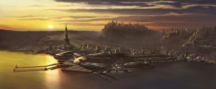 """Если присмотреться к кадру из фильма """"Пятый элемент"""", то можно увидеть, что космопорт находитсяна дне залива под Нью Йорком Пятый элемент, Люк бессон"""