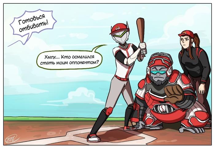 Бейсбол Комиксы, Bluebloodtanuki-Bbt, Bluebloodtanuki, Overwatch, Genji, Zenyatta, Brigitte, Winston, Длиннопост