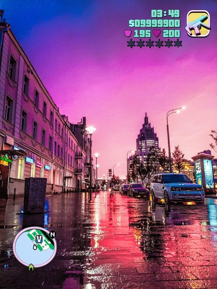 Vice city в Москве Небо, Розовое небо, Фотография, GTA vice city, GTA, Huawei