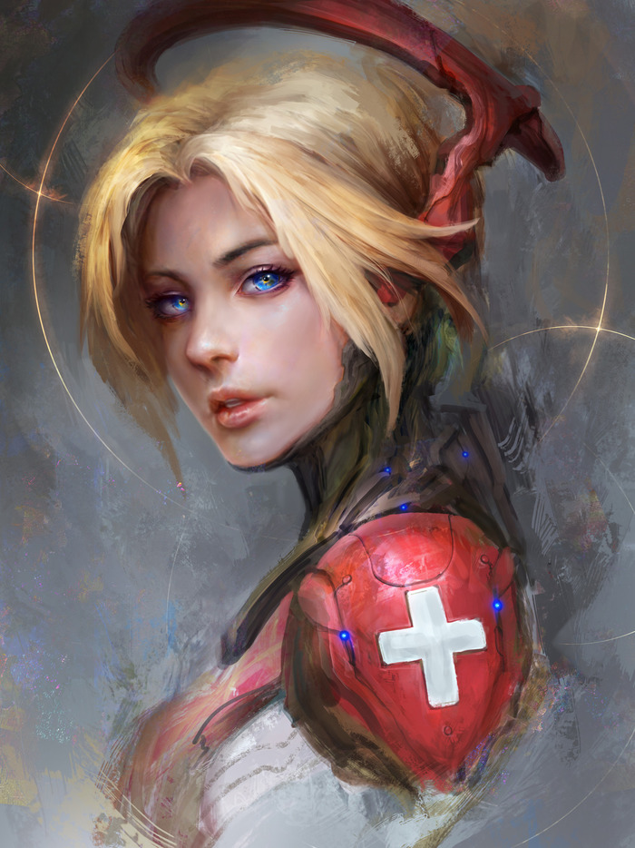 Mercy TheDURRRRIAN, Daniel Kamarudin, Overwatch, Mercy, Арт