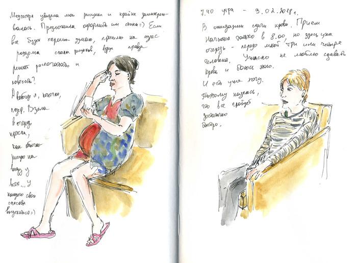 А чем вы занимались\занялись бы в роддоме? Иллюстрации, которые я рисовала в ожидании ребенка Рисование, Скетч, Длиннопост, Роды, Роддом, Зарисовка, Рисунок, Акварель