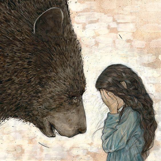 Маша и медведь. Картинки, Медведь, Дети, Девочка, Милота, Длиннопост, Рисунок