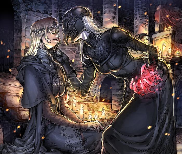 Fire Keeper andYuria 20124443_, Dark souls, Dark Souls 3, Yuria of Londor, Fire Keeper, Арт