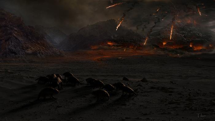 Доисторические катастрофы в картинках Zbrush, 3ds max, Фотоманипуляции, Доисторические животные, Длиннопост